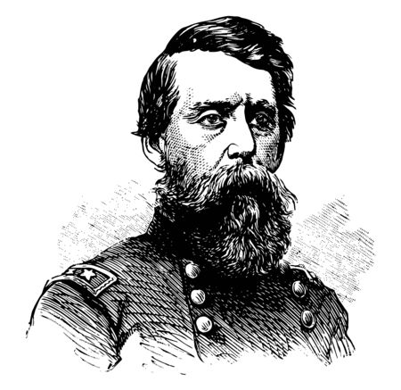 Jefferson C. Davis 1828 to 1879 he was a officer of the United States Army during the American civil war and first commander of the department of Alaska vintage line drawing or engraving illustration 向量圖像