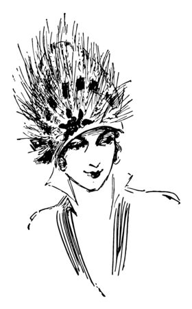 Feather Hat is an early 20th century design vintage line drawing or engraving illustration. 일러스트