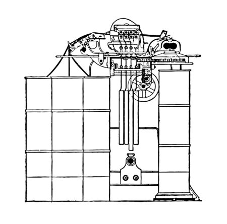 This illustration represents function of Drawing Frame, vintage line drawing or engraving illustration.