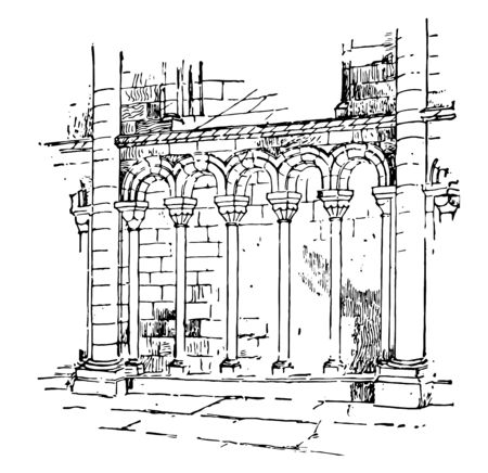Arcature arcade of small dimensions balustrade little arches Cathedral of Petersborough vintage line drawing or engraving illustration.