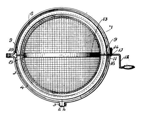 This illustration represents Ball Type Strainer which using a filter such as a mesh vintage line drawing or engraving illustration. Reklamní fotografie - 132817923