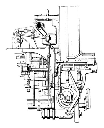 This illustration represents Type Casting which used in hot metal typesetting vintage line drawing or engraving illustration.
