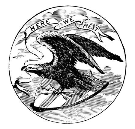 The official seal of the U.S. state of Alabama in 1889 near the edge word ALABAMA and word GREAT SEAL in center an eagle with raised wings alighting upon shield with three arrows in his left talon vintage line drawing or engraving illustration