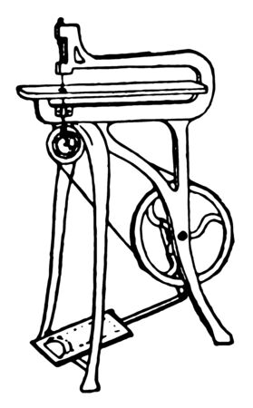 Treadle Fret Saw, It is a type of Fret Saw and its used in a Miscellaneous Crafts, vintage line drawing or engraving illustration. Illustration
