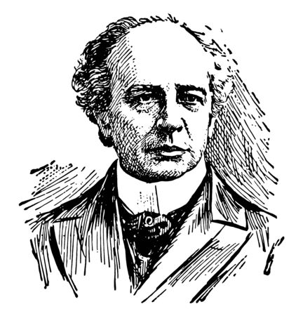Sir Wilfrid Laurier 1841 to 1919 he was the seventh prime minister of Canada from 1896 to 1911 vintage line drawing or engraving illustration