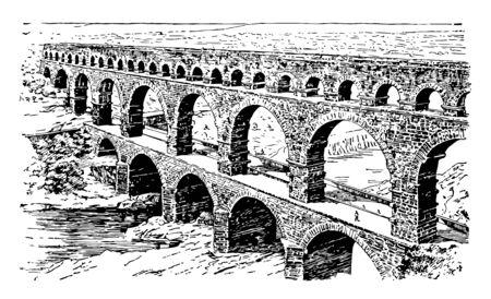 Un ancien aqueduc romain Nemausus dans le sud de la France l'empereur Antonin le Pieux vintage dessin ou gravure illustration.