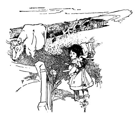 A Childs Garden of Verse is found in novelist Robert Louis Stevensons book it is a collection of poetry and originally published in 1900 vintage line drawing or engraving illustration.