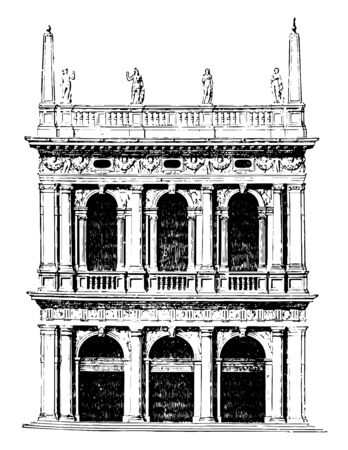 Old Library of St. Mark at Venice Next in order are the productions of Jacopo Tatti architect was educated in the Florentine school afterwards proceeded to Rome vintage line drawing or engraving illustration. Illusztráció