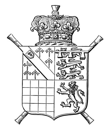 Arms of the Duke of Norfolk is a escutcheon heraldry shield vintage line drawing or engraving illustration. Banque d'images - 132815534