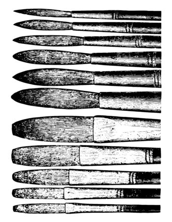 Fresco Bristle Brushes are round shaped with either short vintage line drawing or engraving illustration.