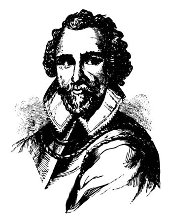 Martin Frobisher he was famous English seaman and privateer who made three voyages to the New World to look for the Northwest Passage vintage line drawing or engraving illustration Иллюстрация