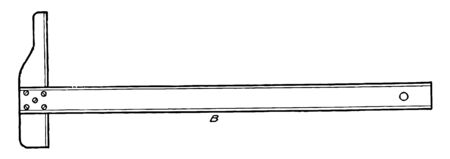 Long Fixed Head T to square is allows for drawing a long square it is a hand screw and two mutually perpendicular scales with protractor head vintage line drawing or engraving illustration.