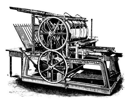 This illustration represents function of Single Large Cylinder Press vintage line drawing or engraving illustration. Ilustrace