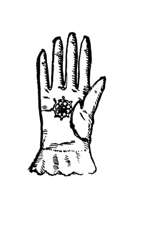 Georgian Glove are used in Europe, vintage line drawing or engraving illustration.