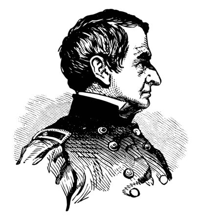 Robert Anderson 1805 to 1871 he was a U.S. army officer who defied the confederacy and upheld union honour in the first battle of the American civil war at fort Sumter in 1861 vintage line drawing or engraving illustration