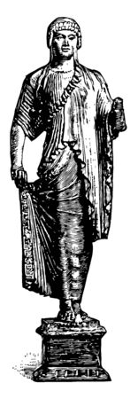Archaistic Statuette in the imitation of Greek work vintage line drawing or engraving illustration. Иллюстрация