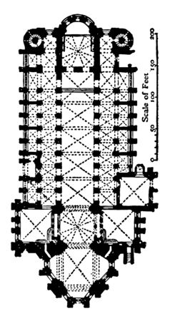 Plan of Cathedral at Mainz AD 976 an example of Romanesque and Gothic architecture most important churches vintage line drawing or engraving illustration.
