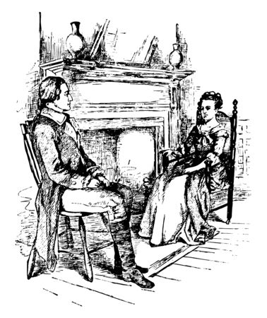 A man and woman sitting on chairs near fireplace and talking vintage line drawing or engraving illustration Ilustração