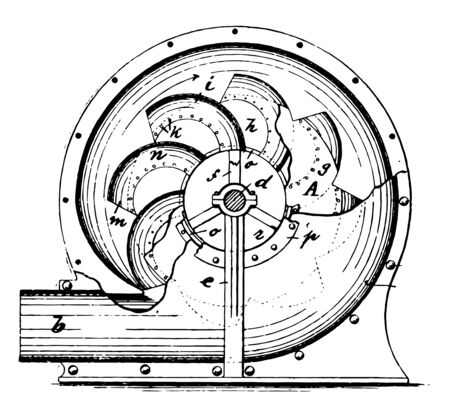 This illustration represents Centrifugal Blower where the fan is usually long in relation to the diameter vintage line drawing or engraving illustration.