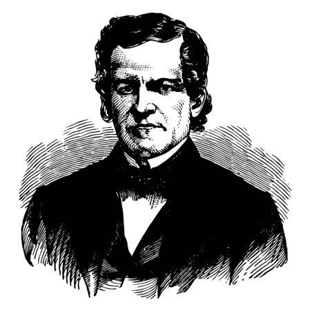 Francis Wilkinson Pickens fue un demócrata político y gobernador de Carolina del Sur línea vintage de dibujo o ilustración de grabado Ilustración de vector
