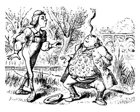 Alice in Wonderland this scene shows two men snake beats nose of one man and another man looking at him hat on ground vintage line drawing or engraving illustration Vectores