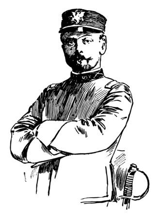 Frederick Funston 1865 to 1917 he was a general in the United States Army famous for his role in the Spanish–American War and the Philippine–American War vintage line drawing or engraving illustration
