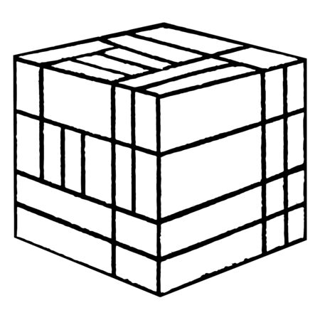 Froebels Divided Cube or Friedrich Froebels divided encourage creativity, smaller shapes, more  difficult, vintage line drawing or engraving illustration.