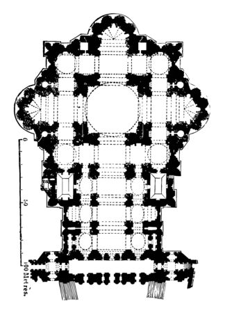 Ground to plan of St. Peters Rome his example necessarily entailed imitation produced effects on subsequent times his wonderful talent the design of the Capitol at Rome vintage line drawing or engraving illustration. Illusztráció