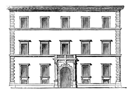 Verospi Palace Rome presents a type of the majority the Roman Renaissance style located on the main street in Rome most important palaces in this style vintage line drawing or engraving illustration.