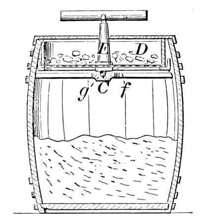 This illustration represents Coal Sifter which is used to sort coal into various sizes vintage line drawing or engraving illustration.  イラスト・ベクター素材