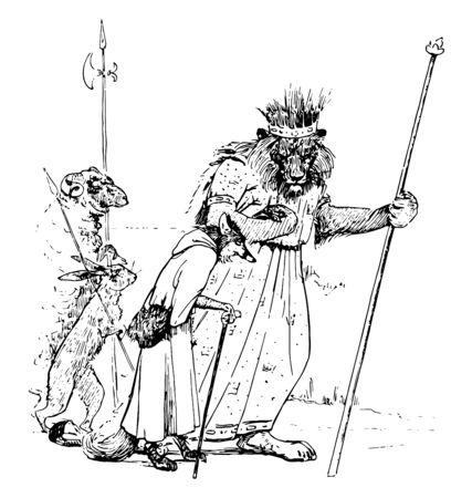 Reynard the Fox: Reynards Pilgrimage this scene shows the lion with crown on head and stick the hare with spear fox with stick and sheep walking together vintage line drawing or engraving illustration