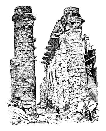 Central Avenue Hall of Columns Karnak ancient Egypt vintage line drawing or engraving illustration.