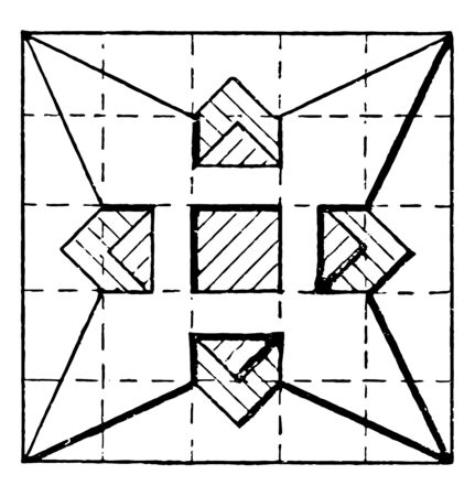 Star Construction Using Triangles and Squares is divided by the dotted line draw an arc through the center vintage line drawing or engraving illustration.