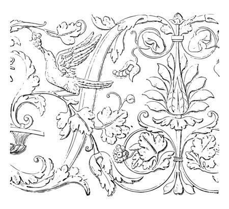 Friezes at Veniceberries bird frieze leaves Renaissance architecture vintage line drawing or engraving illustration