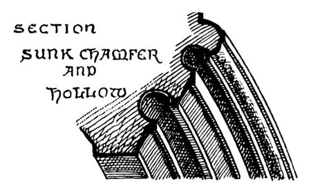 Gothic Architecture Arch Moulding Sunk Chamfer, Fourteenth Century,  Gothic Architecture Arch Sunk Chamfer, medieval, middle ages, vintage line drawing or engraving illustration.