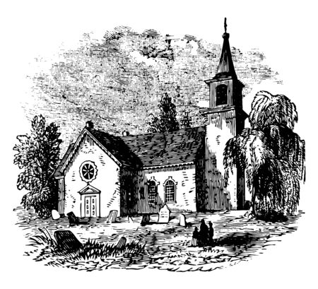 St Martin to in to the to Fields is an English Anglican church at the north to east corner of Trafalgar Square in the City of Westminster. It is dedicated to Saint Martin of Tours vintage line drawing or engraving illustration.