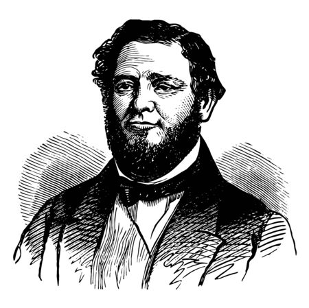 Judah Philip Benjamin 1811 to 1884 he was a lawyer an American politician and United States senator from Louisiana vintage line drawing or engraving illustration
