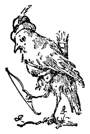 The Death and Burial of Robin this scene shows a bird in hat and holding bow and carrying arrows on back vintage line drawing or engraving illustration
