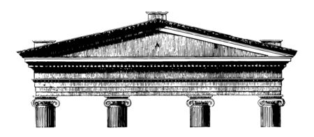 Acroterium is the pedestal on the angle or apex of a pediment architectural ornament placed on a flat base acroter or plinth vintage line drawing or engraving illustration.