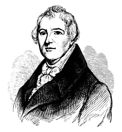 William Hull 1753 to 1825 he was an American soldier politician and first governor of Michigan Territory vintage line drawing or engraving illustration  イラスト・ベクター素材