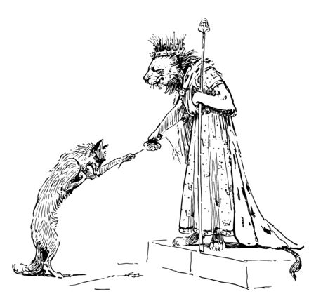 Reynard the Fox: Proffering to the King this scene shows the fox bowed down and giving a straw to Lion who wore human dress and crown on head vintage line drawing or engraving illustration Illustration