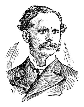 Henry Drummond 1851 to 1897 he was a Scottish evangelist biologist writer and lecturer vintage line drawing or engraving illustration 向量圖像