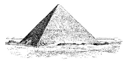 The Great Pyramid of Giza Ancient Egypt giza great pyramid of giza narrow entrance vintage line drawing or engraving illustration.