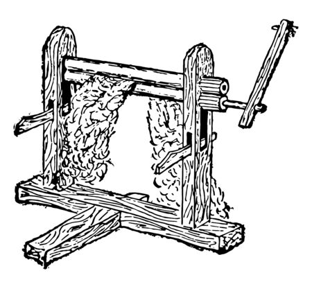 This illustration represents Churka Gin which is a machine that quickly and easily separates cotton fibers from their seeds, vintage line drawing or engraving illustration.