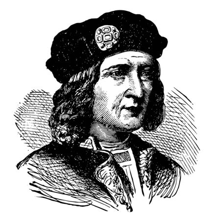 Richard III of England, 1452-1485, he was the king of England from 1483 to 1485, vintage line drawing or engraving illustration 일러스트