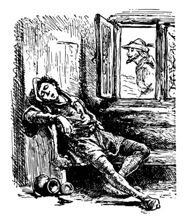 A man with hat on head sitting on bench near window and fall asleep another man in the window jar on ground vintage line drawing or engraving illustration Stock Illustratie
