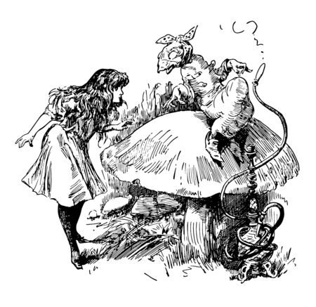 Alice in Wonderland this scene shows a rat sitting on mushroom and a standing girl looking at each other vintage line drawing or engraving illustration 向量圖像