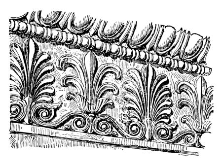Anthemion to Molding A molding frieze ornamented a series of anthemia graceful alternation two forms ornamental motif found in classical architecture vintage line drawing or engraving illustration.