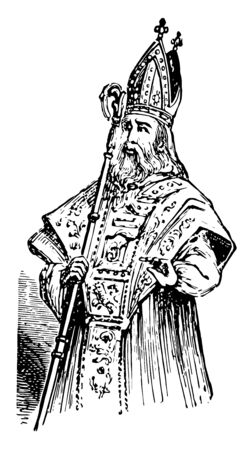 Odo of Bayeux was the half brother of William the Conqueror and was for a time second only to the king in power in England vintage line drawing or engraving illustration.