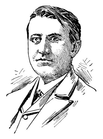 Thomas Alva Edison 1847 to 1931 he was an American inventor businessman and one of the first inventors to apply the principles of mass production vintage line drawing or engraving illustration
